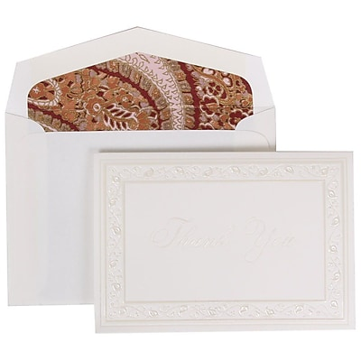 JAM Paper® Thank You Cards Set, Pearl Lily with Pink Paisley Lined Envelope, 104 Note Cards with 100 Envelopes (52691922PP)