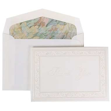 JAM Paper® Thank You Cards Set, Pearl Lily with Tapestry Lined Envelope, 104 Note Cards with 100 Envelopes (52691922TA)