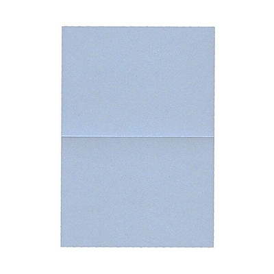 JAM Paper® Blank Foldover Cards, 4bar / A1 size, 3 1/2 x 4 7/8, Stardream Metallic Blue Pearl, 50/pack (69321453)