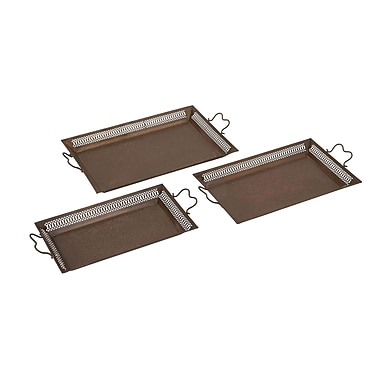 Woodland Imports Attractive 3 Piece Accent Tray Set