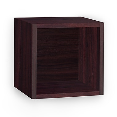 Way Basics Eco-Friendly Wall Cube Floating Shelf, Espresso Wood Grain - Lifetime Warranty