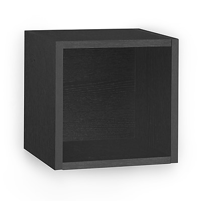 Way Basics Eco-Friendly Wall Cube Floating Shelf, Black Wood Grain