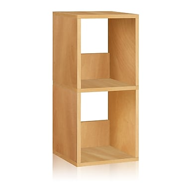 Way Basics Eco-Friendly 2 Shelf Duo Narrow Bookcase Storage Shelf, Natural Wood Grain - Lifetime Warranty