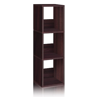 Way Basics Eco-Friendly 3 Shelf Trio Narrow Bookcase Storage Shelf, Espresso Wood Grain - Lifetime Warranty