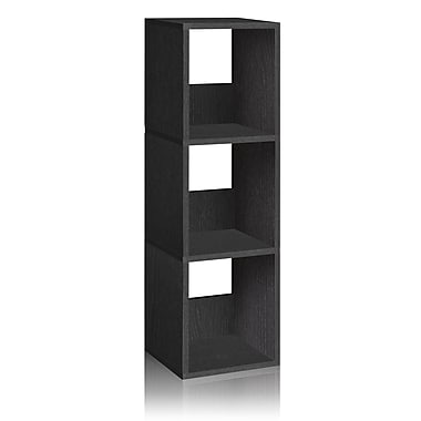 Way Basics Eco-Friendly 3 Shelf Trio Narrow Bookcase Storage Shelf, Black Wood Grain - Lifetime Warranty