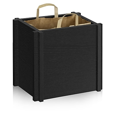Way Basics Eco-Friendly Paper Bag Support Frame, Black Wood Grain