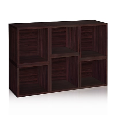 Way Basics Eco-Friendly 6 Stackable Arlington Storage Cubes, Espresso Wood Grain - Lifetime Warranty
