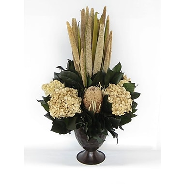 Bougainvillea Metal Trophy Small Vase w/ Pensularia, Banksia and Hydrangea; Ivory