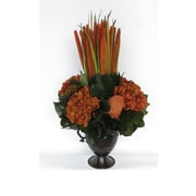 Bougainvillea Metal Trophy Small Vase w/ Pensularia, Banksia and Hydrangea; Rust Brown