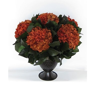 Bougainvillea Metal Trophy Small Vase w/ Hydrangea; Rust Brown
