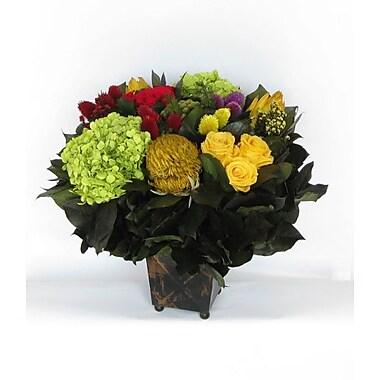Bougainvillea Copper Square Mini Container w/ Clover, Roses, Banksia, Protea and Hydrangea