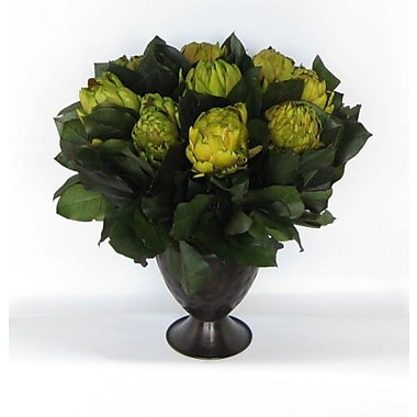 Bougainvillea Metal Trophy Small Vase w/ Artichokes and Salal