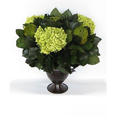 Bougainvillea Metal Trophy Small Vase w/ Brunia, Banksia and Hydrangea; Basil