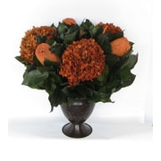 Bougainvillea Metal Trophy Small Vase w/ Brunia, Banksia and Hydrangea; Rust Brown