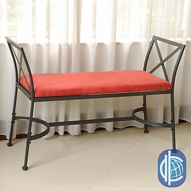 International Caravan Mandalay Upholstered Bench; Cardinal Red