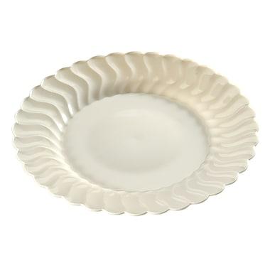 Fineline Settings, Inc Flairware Round Rippled Disposable Plastic Dinner Plate (144/Case); Bone