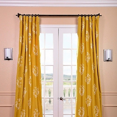Half Price Drapes Isles Printed Cotton Damask Rod Pocket Single Curtain Panel; 50'' W x 108'' L