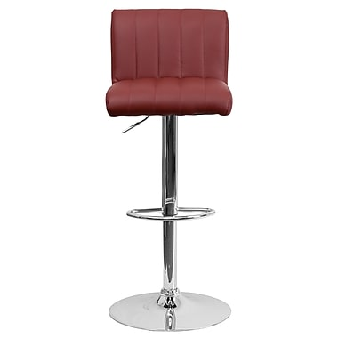 Flash Furniture – Tabouret de bar ajustable en vinyle, 20 x 18 po, bourgogne