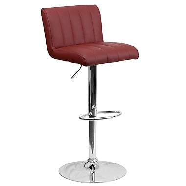 Flash Furniture – Tabouret de bar contemporain et ajustable en vinyle bourgogne et à pied chromé (CH112010BURG)