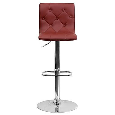 Flash Furniture – Tabouret de bar ajustable en vinyle avec base chromée, 15 1/2 x 18 po, bourgogne