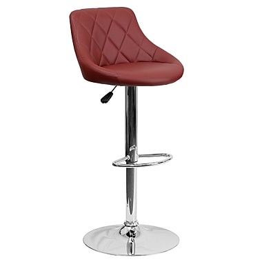 Flash Furniture Contemporary Vinyl Bucket Seat Adjustable Height Barstool, Burgundy with Chrome Base (CH82028ABURG)
