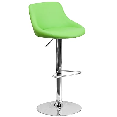 Flash Furniture Contemporary Vinyl Bucket Seat Adjustable Height Barstool, Green with Chrome Base (CH82028MODGRN)
