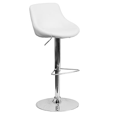 Flash Furniture Contemporary Adjustable-Height Vinyl Bucket Seat Barstool, White with Chrome Base (CH82028MODWH)