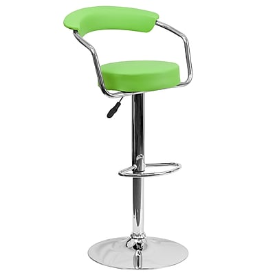 Flash Furniture Contemporary Vinyl Adjustable Height Barstool, Green with Chrome Arms and Base (CHTC31060GRN)