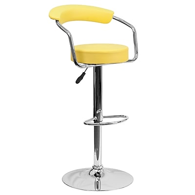 Flash Furniture Adjustable-Height Contemporary Yellow Vinyl Barstool with Arms and Chrome Base (CHTC31060YEL)
