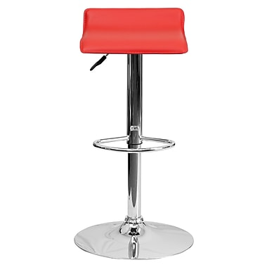 Flash Furniture – Tabouret de bar ajustable en vinyle avec base chromée, 15 x 15 po, rouge