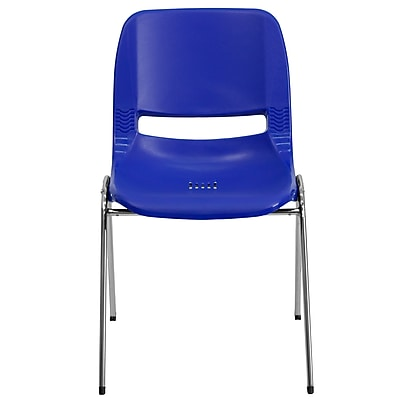 Flash Furniture Hercules Molded Plastic Shell Stackable Chair With Chrome Frame, Navy, 20/Pack