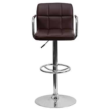 Flash Furniture – Tabouret de bar ajustable en vinyle, 20 x 18 po, brun
