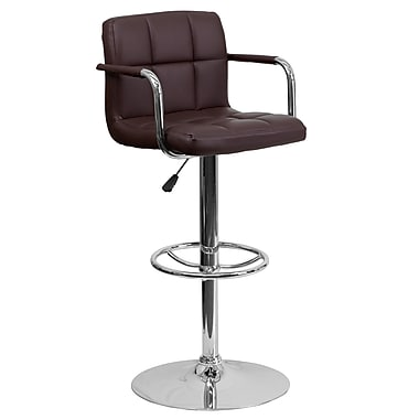 Flash Furniture Adjustable-Height Contemporary Quilted Vinyl Barstool, Brown with Arms and Chrome Base (CH102029BRN)