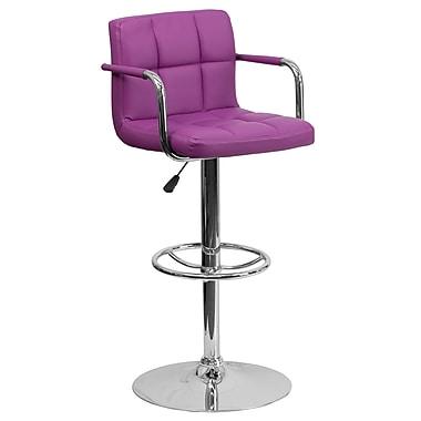 Flash Furniture – Tabouret de bar ajustable en vinyle matelassé violet avec accoudoirs et pied chromés (CH102029PUR)