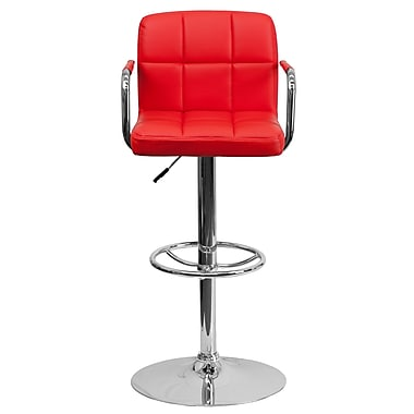 Flash Furniture – Tabouret de bar à hauteur ajustable de 20 x 18 po en vinyle, rouge