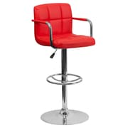 "Flash Furniture 33.25"" Contemporary Red Quilted Vinyl Adjustable Height Barstool with Arms and Chrome Base (CH102029RED)"