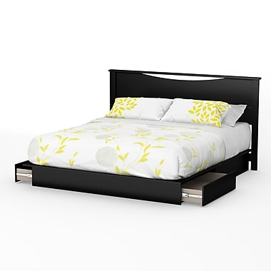 South Shore Step One King Platform Bed with Drawers and Headboard (78'') Set, Pure Black