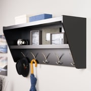 Prepac Floating Entryway Shelf & Coat Rack, Black