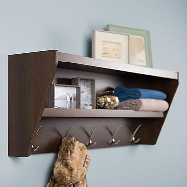 Prepac Floating Entryway Shelf & Coat Rack, Espresso
