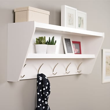 Prepac Floating Entryway Shelf & Coat Rack, White