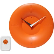 "Infinity Instruments 10"" Doorbell Wall Clock, Orange"