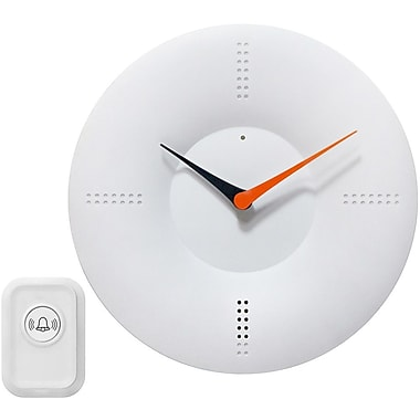 Infinity Instruments Analog Wall Clock with Doorbell, White (14766WH)