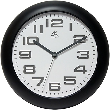 Infinity Instruments Clear Plastic Analog Wall Clock, Black (14761BK-3782)