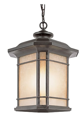 TransGlobe Lighting Corner Windows 1-Light Outdoor Hanging Lantern; Rust WYF078275800587
