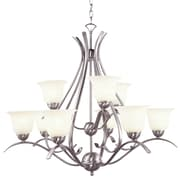 TransGlobe Lighting Contemporary 9-Light Shaded Chandelier; Brushed Nickel