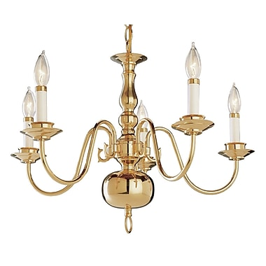 TransGlobe Lighting Back To Basics 5 Light Williamsburg Chandelier; Polished Brass