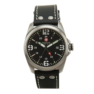 Wenger® Swiss 9970 Mens Analog Watch, Thick Water Resistant Black Leather Strap