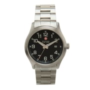 Wenger® Swiss 9973 Mens Analog Watch, Solid Steel Integrated Case And Bracelet