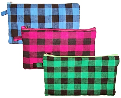 Inkology Plaid Puffy Pencil Pouch Assorted Colors