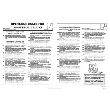 ComplyRight™ California Operating Rules For Industrial Trucks Poster